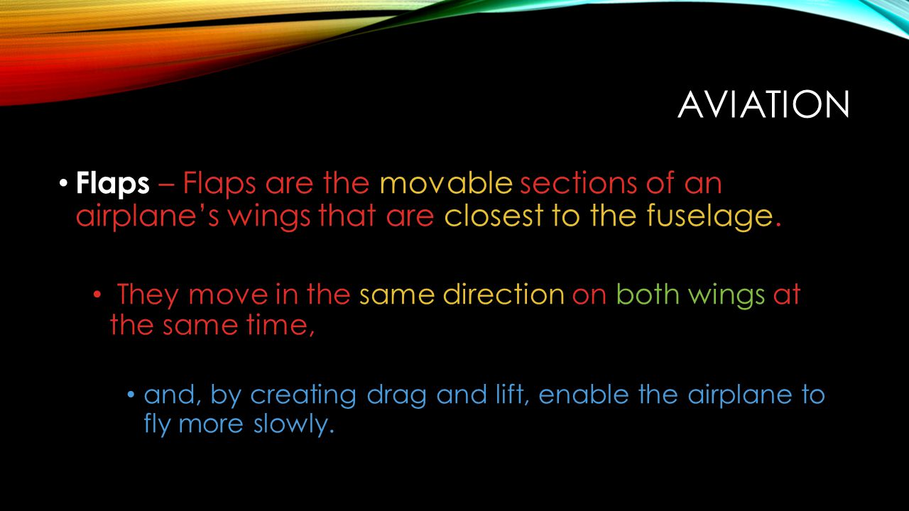 Aviation Flaps – Flaps are the movable sections of an airplane's wings that are closest to the fuselage.