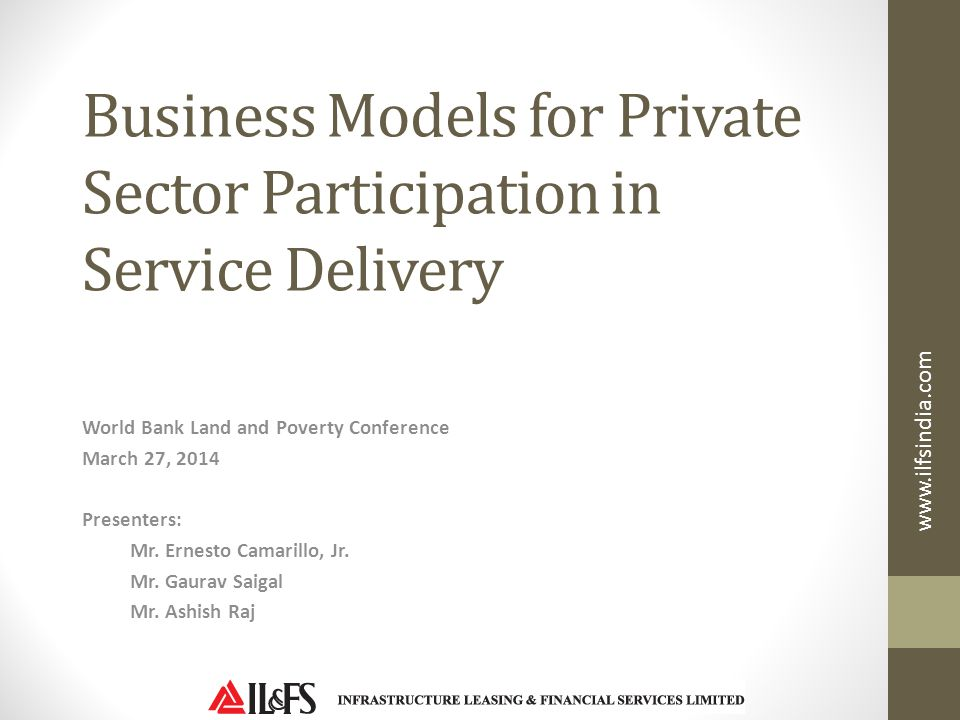 Business Models for Private Sector Participation in Service Delivery