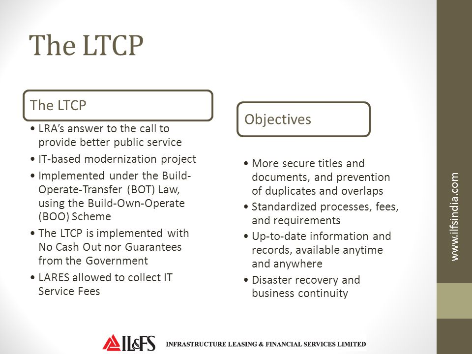 The LTCP The LTCP Objectives
