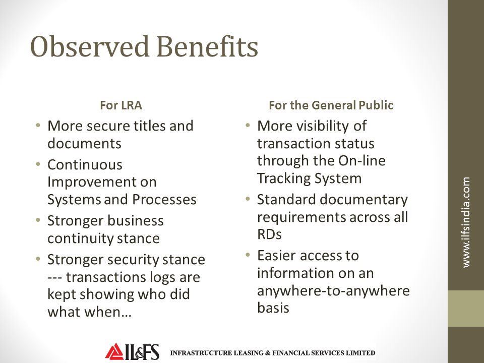 Observed Benefits More secure titles and documents