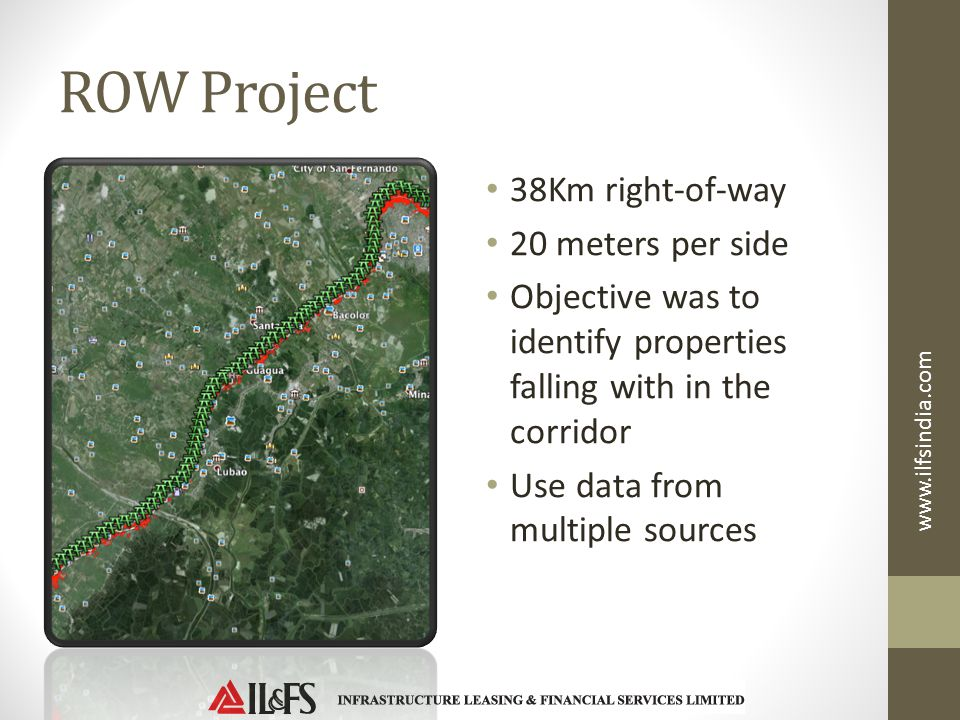 ROW Project 38Km right-of-way 20 meters per side