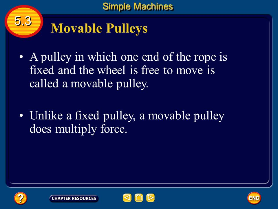 Simple Machines 5.3. Movable Pulleys. A pulley in which one end of the rope is fixed and the wheel is free to move is called a movable pulley.