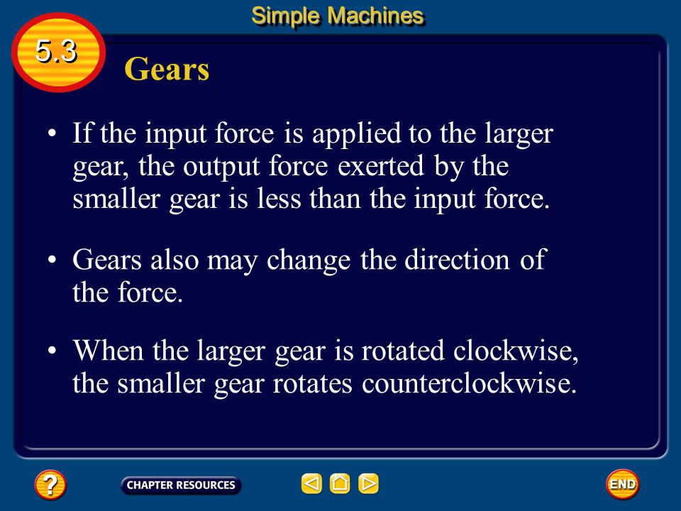 Simple Machines 5.3. Gears.