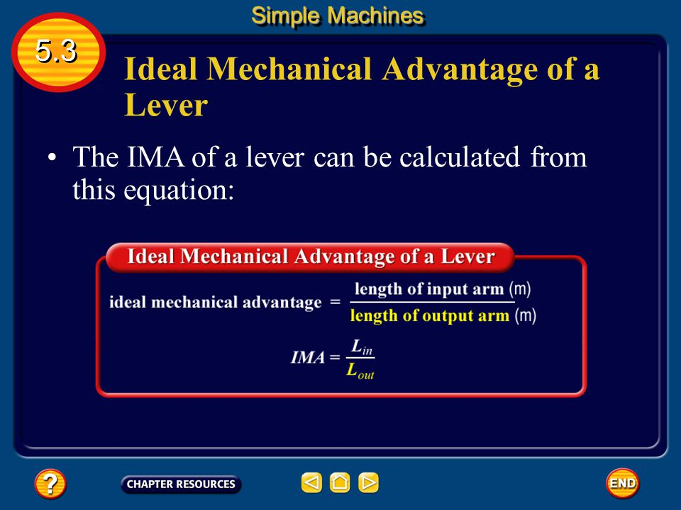 Ideal Mechanical Advantage of a Lever