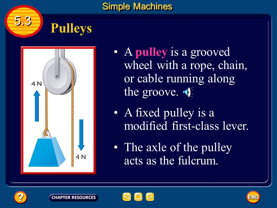 Simple Machines 5.3. Pulleys. A pulley is a grooved wheel with a rope, chain, or cable running along the groove.