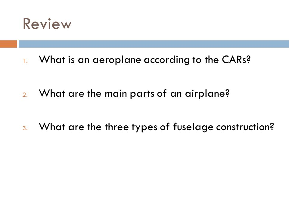 Review What is an aeroplane according to the CARs