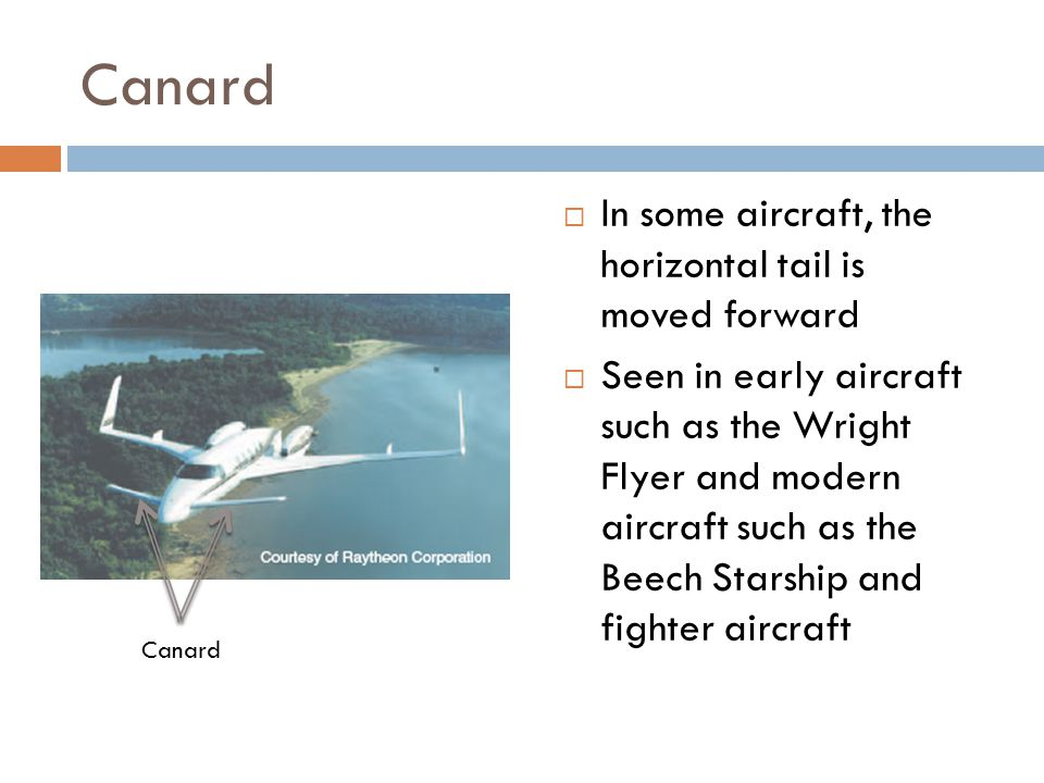 Canard In some aircraft, the horizontal tail is moved forward