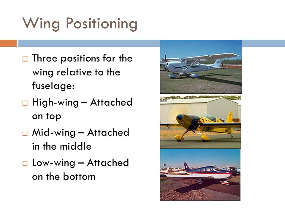 Wing Positioning Three positions for the wing relative to the fuselage: High-wing – Attached on top.