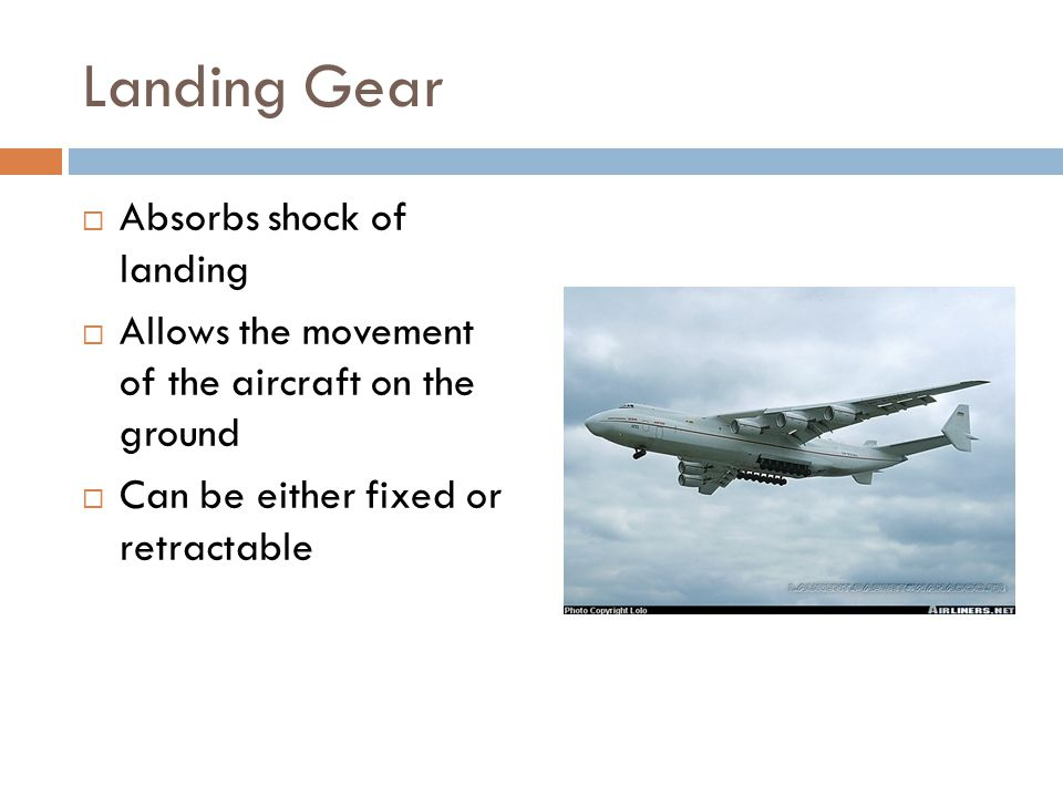Landing Gear Absorbs shock of landing