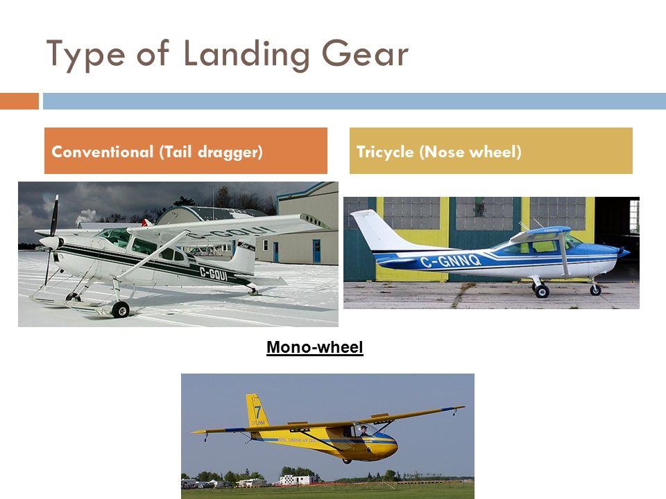 Type of Landing Gear Conventional (Tail dragger) Tricycle (Nose wheel)