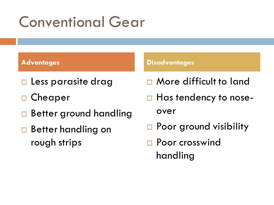 Conventional Gear Less parasite drag Cheaper Better ground handling
