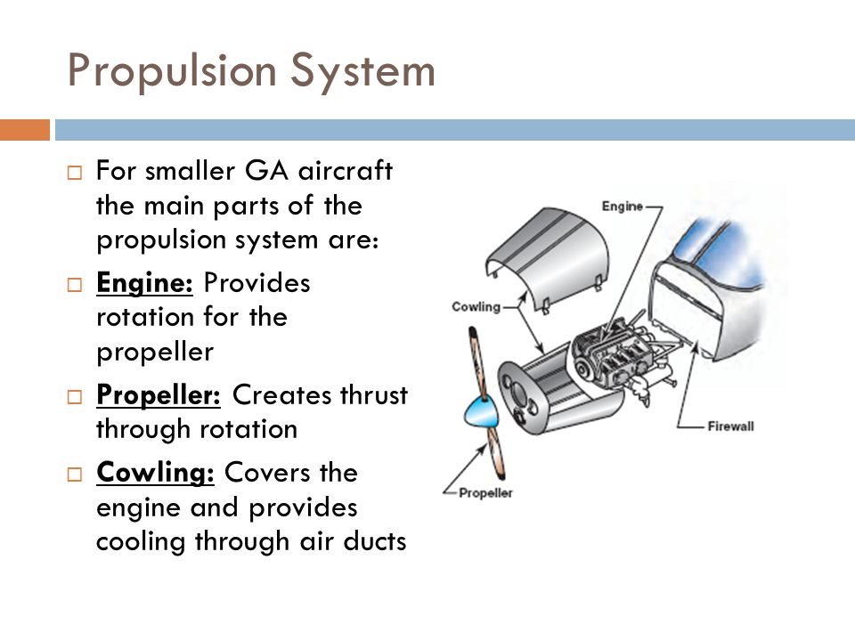 Propulsion System For smaller GA aircraft the main parts of the propulsion system are: Engine: Provides rotation for the propeller.