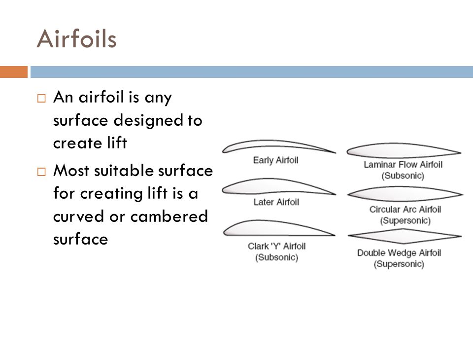 Airfoils An airfoil is any surface designed to create lift