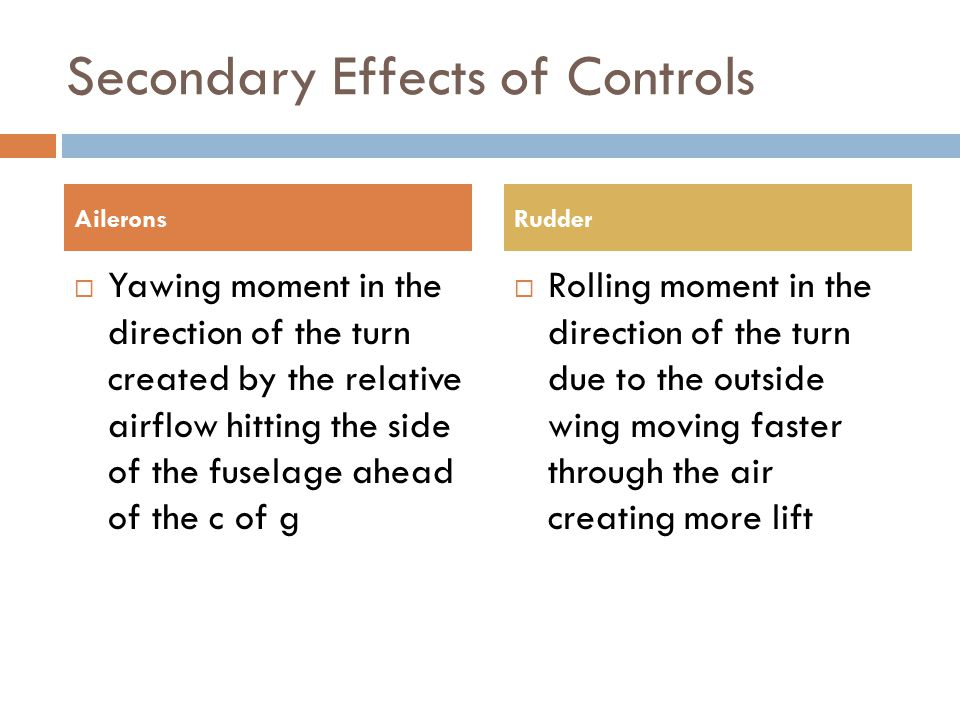 Secondary Effects of Controls