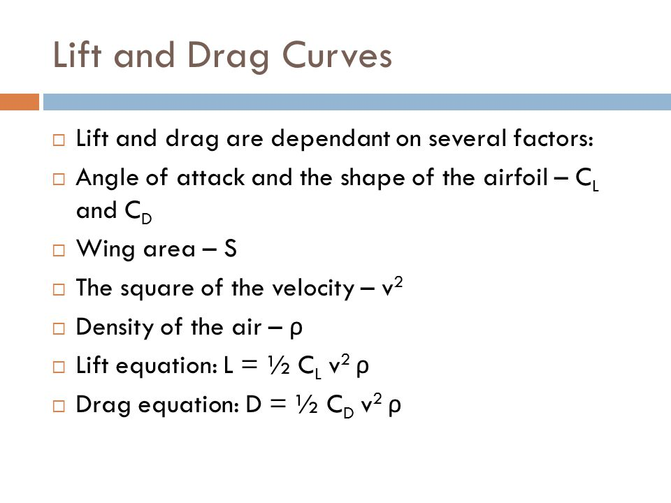 Lift and Drag Curves Lift and drag are dependant on several factors: