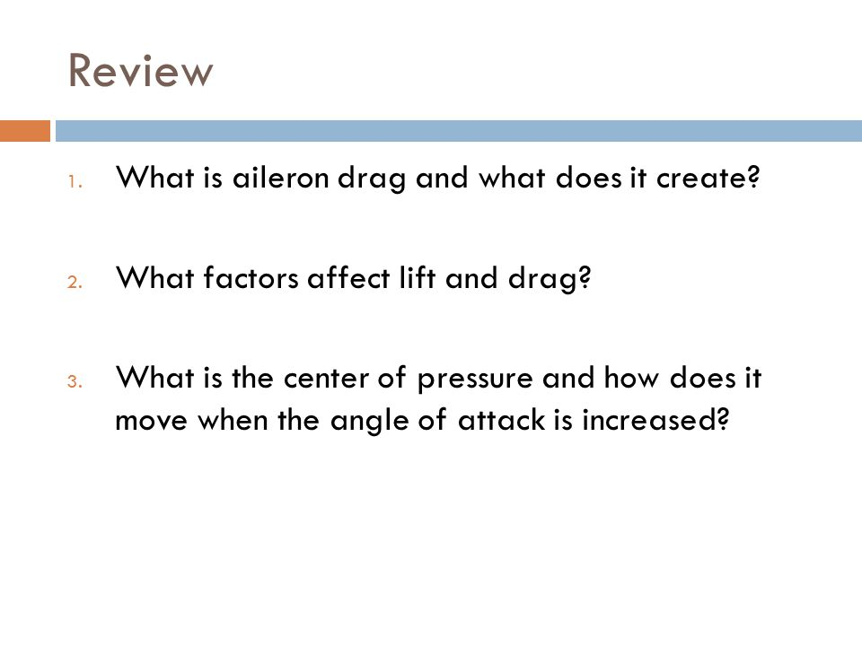 Review What is aileron drag and what does it create