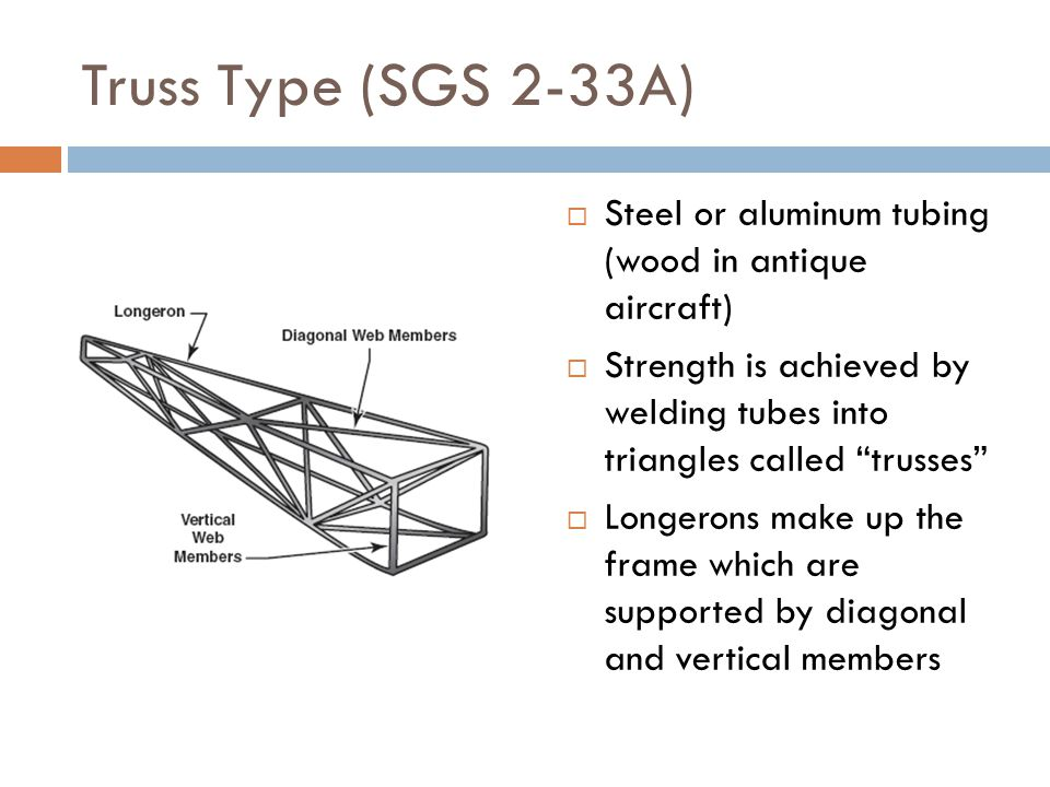Truss Type (SGS 2-33A) Steel or aluminum tubing (wood in antique aircraft) Strength is achieved by welding tubes into triangles called trusses