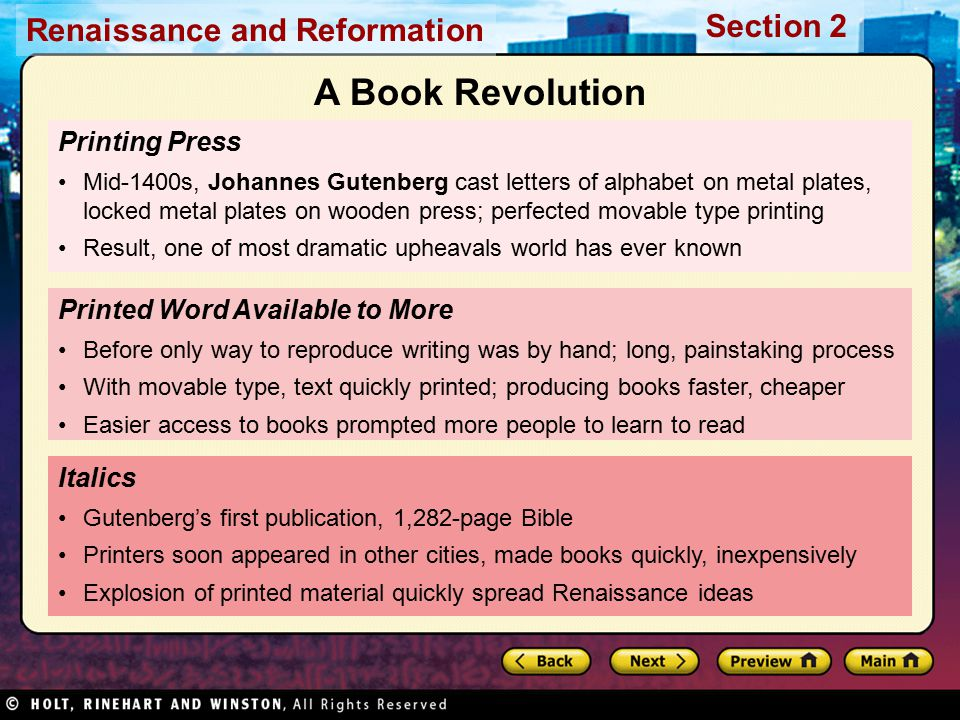 A Book Revolution Printing Press Printed Word Available to More