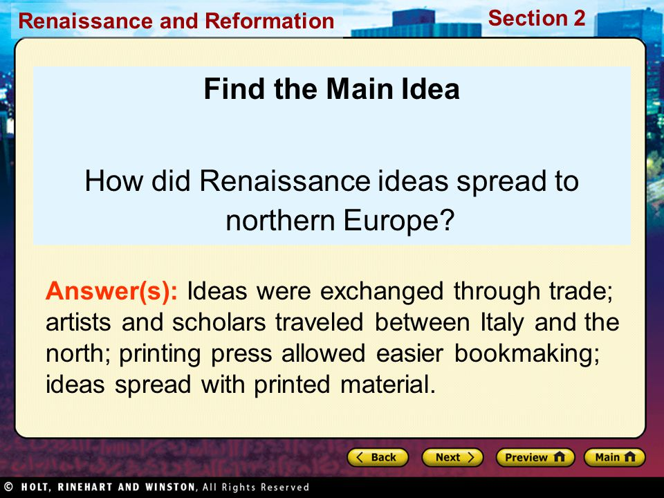 How did Renaissance ideas spread to northern Europe
