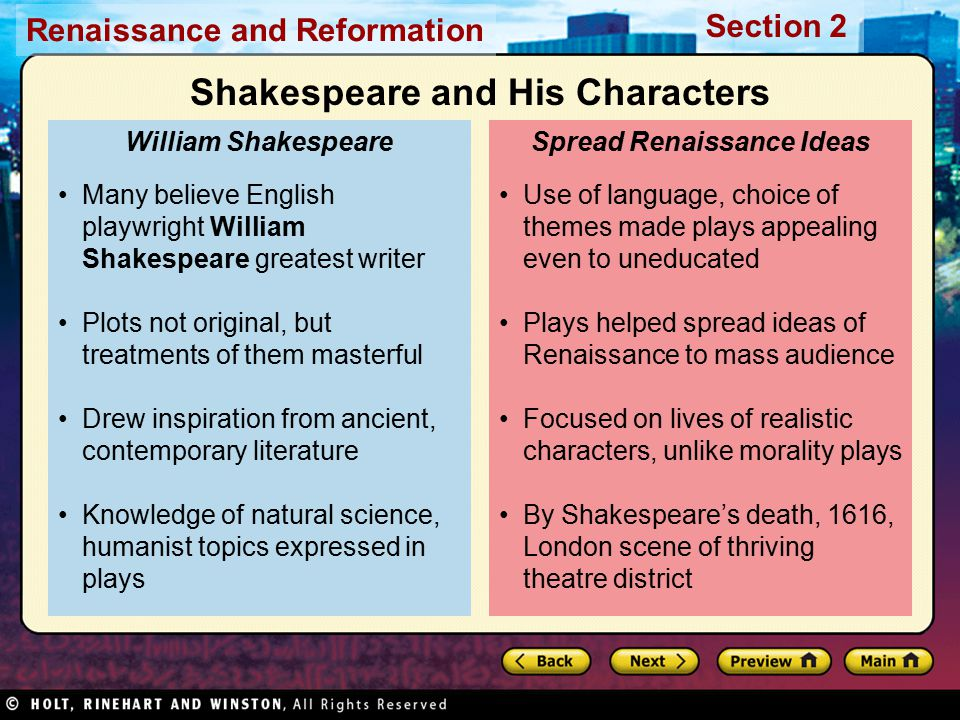 Shakespeare and His Characters