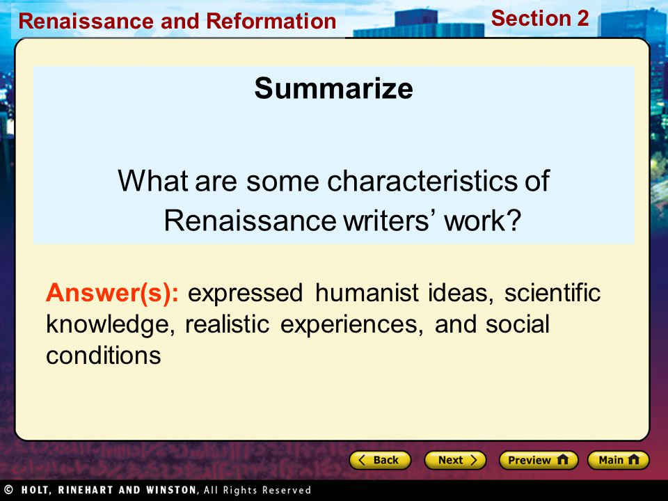 What are some characteristics of Renaissance writers' work