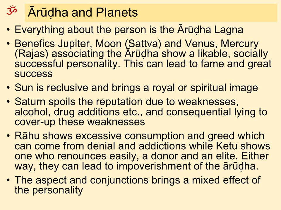 Ārūḍha and Planets Everything about the person is the Ārūḍha Lagna