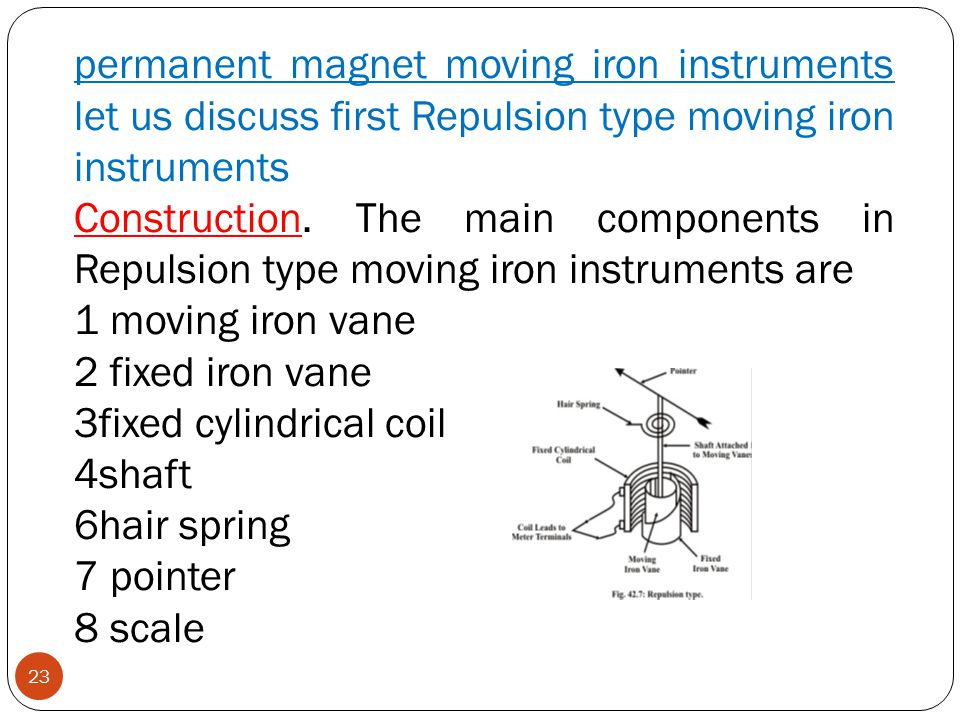 permanent magnet moving iron instruments let us discuss first Repulsion type moving iron instruments