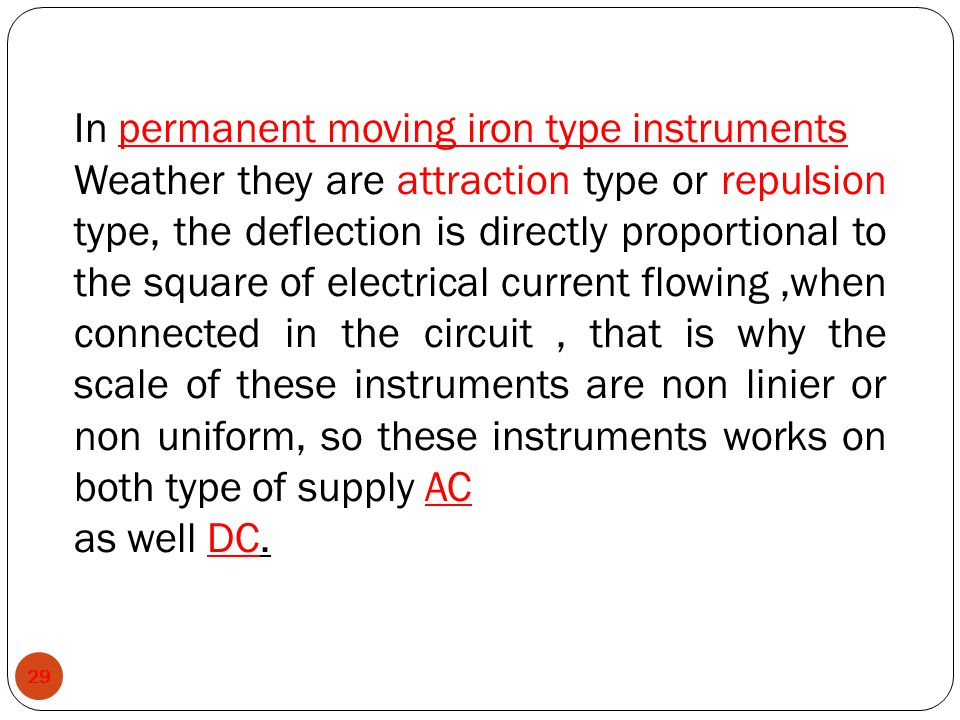 In permanent moving iron type instruments