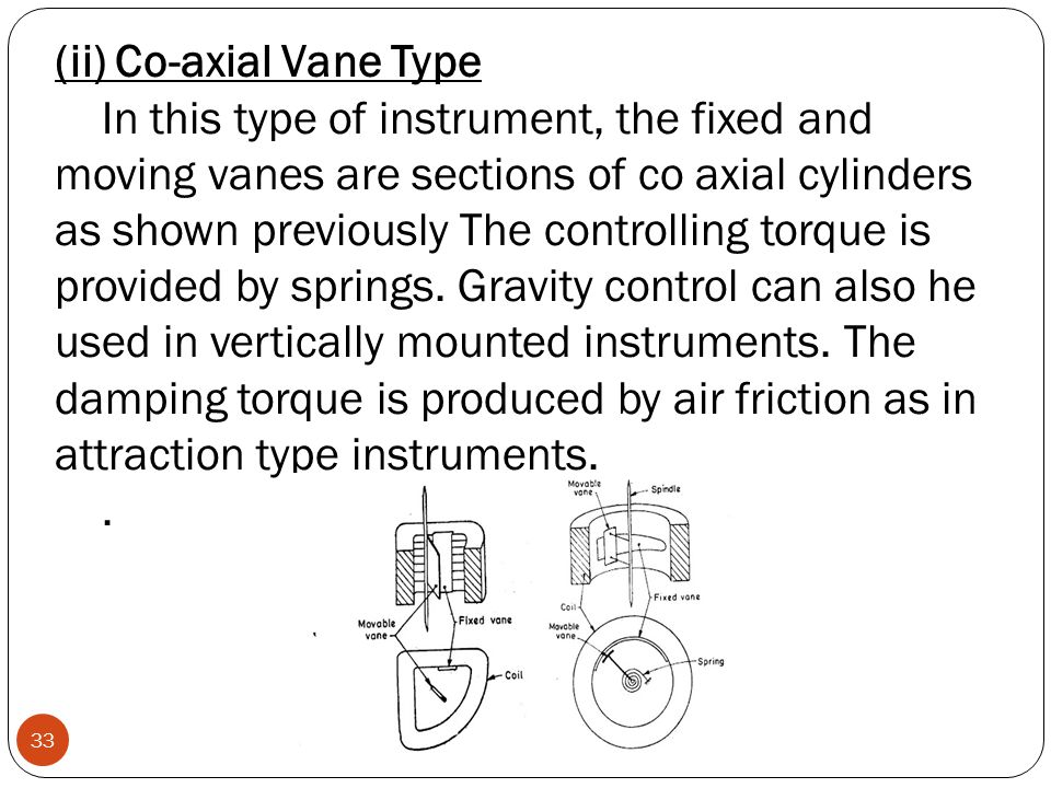 (ii) Co-axial Vane Type In this type of instrument, the fixed and moving vanes are sections of co axial cylinders as shown previously The controlling torque is provided by springs. Gravity control can also he used in vertically mounted instruments. The damping torque is produced by air friction as in attraction type instruments.