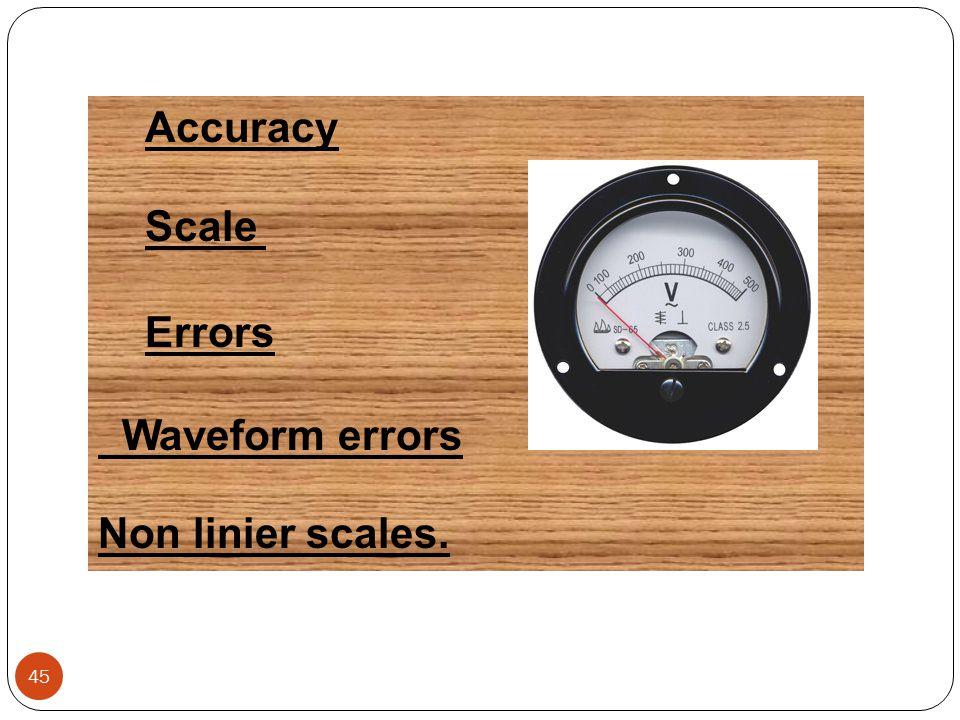 Accuracy Scale Errors Waveform errors Non linier scales.