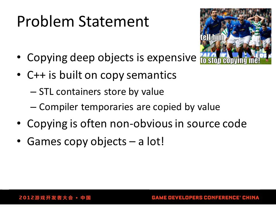 Problem Statement Copying deep objects is expensive