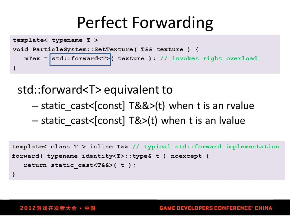 Perfect Forwarding std::forward<T> equivalent to