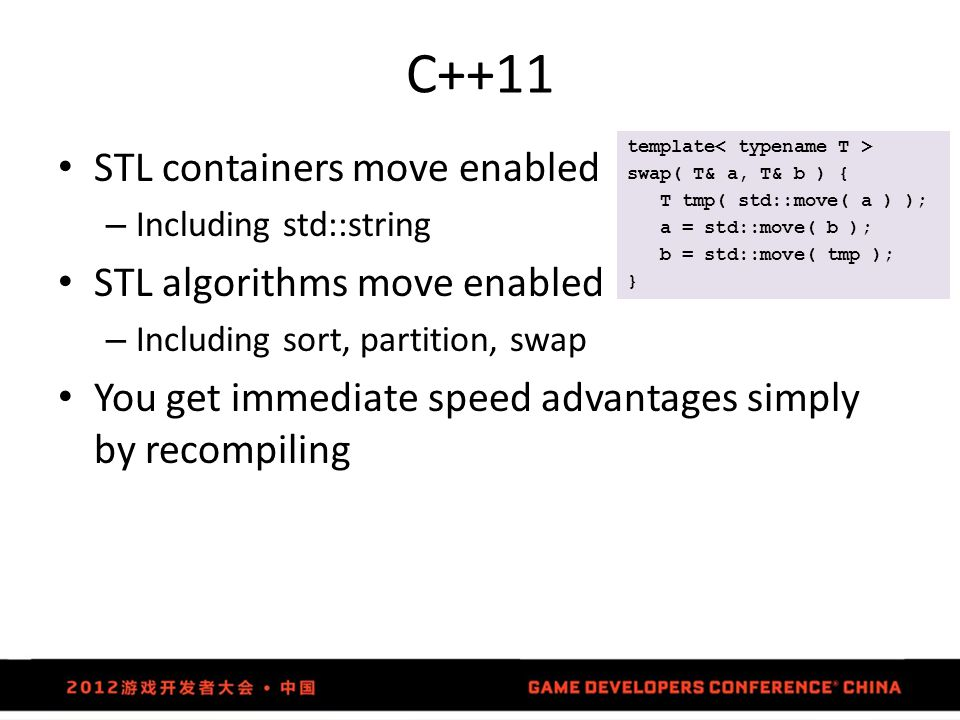 C++11 STL containers move enabled STL algorithms move enabled