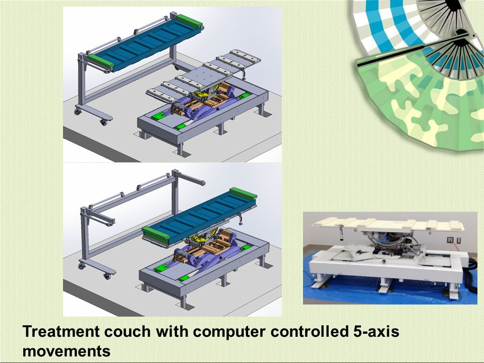 Treatment couch with computer controlled 5-axis movements