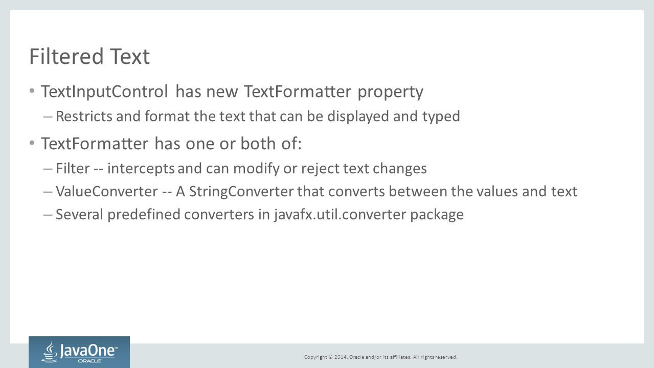 Filtered Text TextInputControl has new TextFormatter property