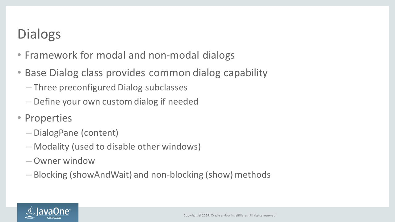Dialogs Framework for modal and non-modal dialogs