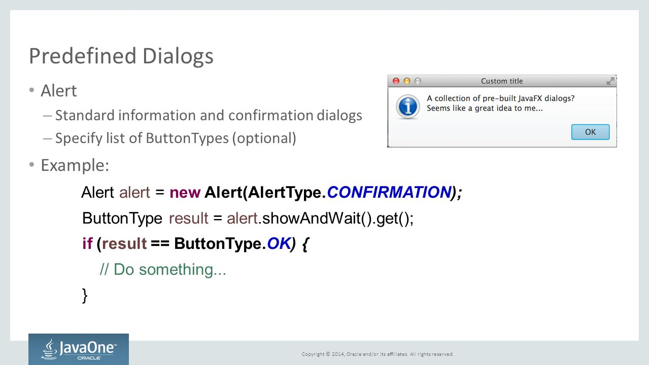 Predefined Dialogs Alert Example: