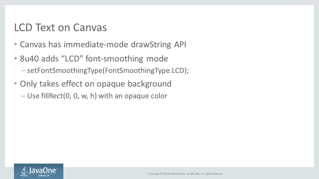 LCD Text on Canvas Canvas has immediate-mode drawString API