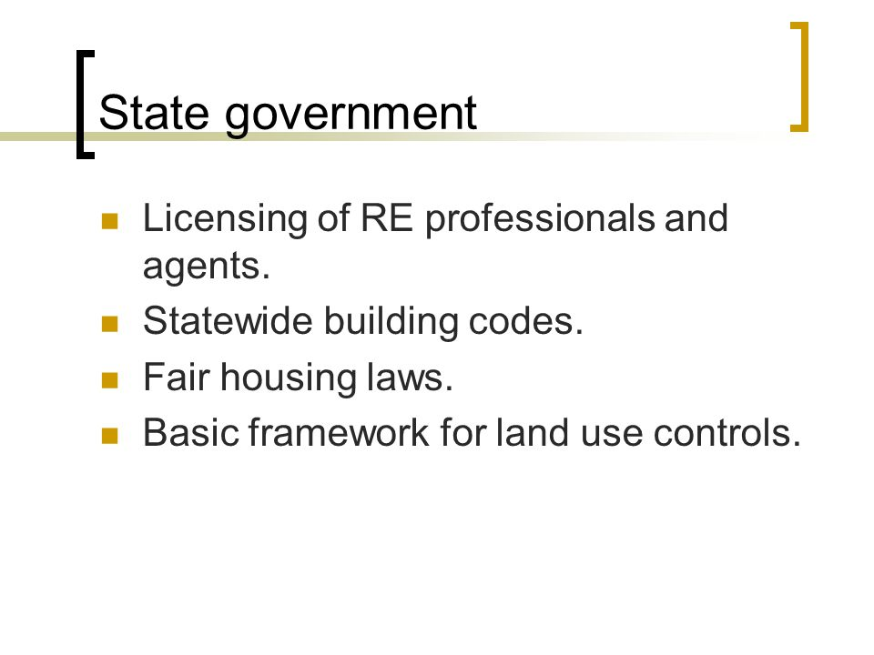 State government Licensing of RE professionals and agents.