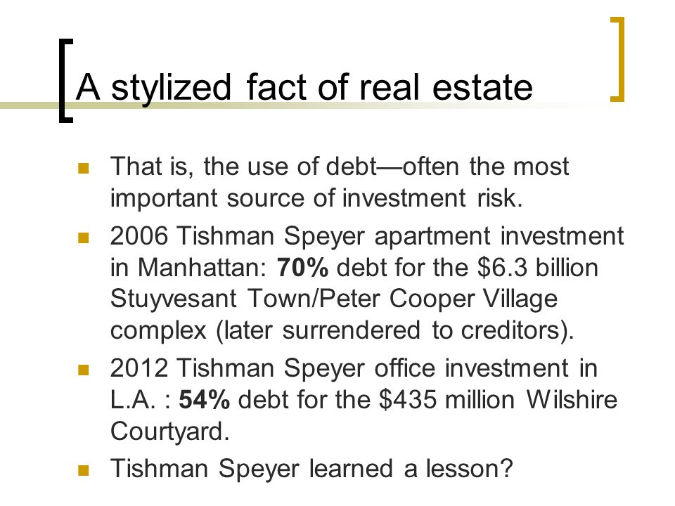 A stylized fact of real estate