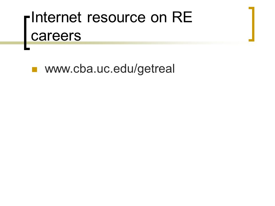 Internet resource on RE careers
