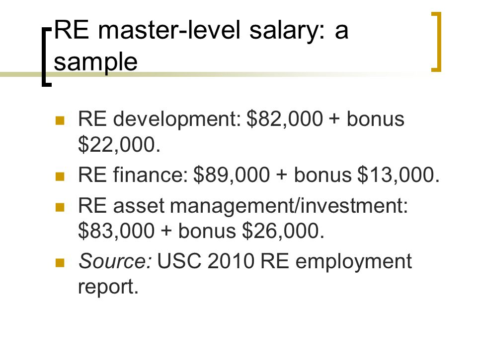 RE master-level salary: a sample
