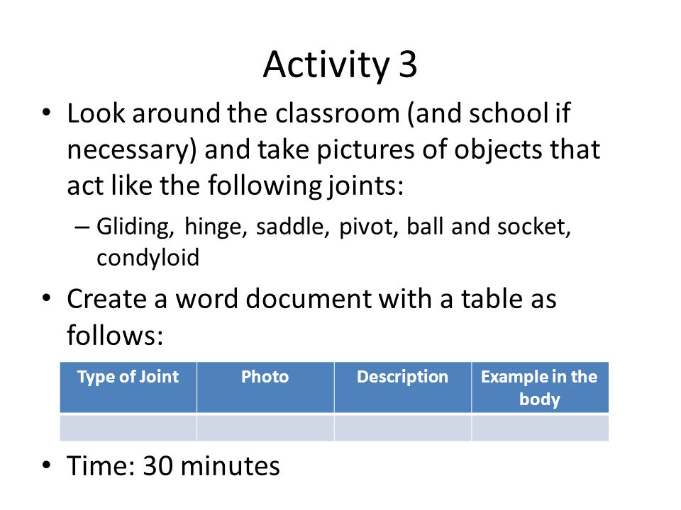 Activity 3 Look around the classroom (and school if necessary) and take pictures of objects that act like the following joints: