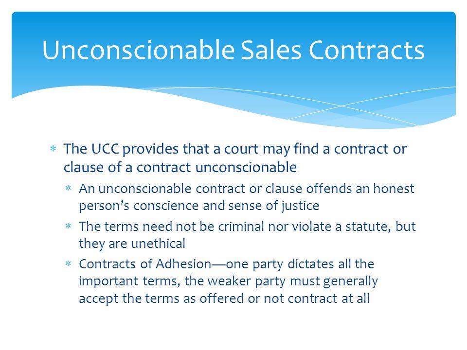 Unconscionable Sales Contracts