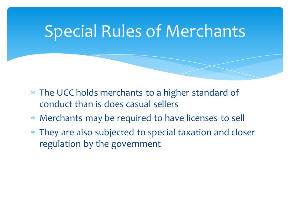 Special Rules of Merchants