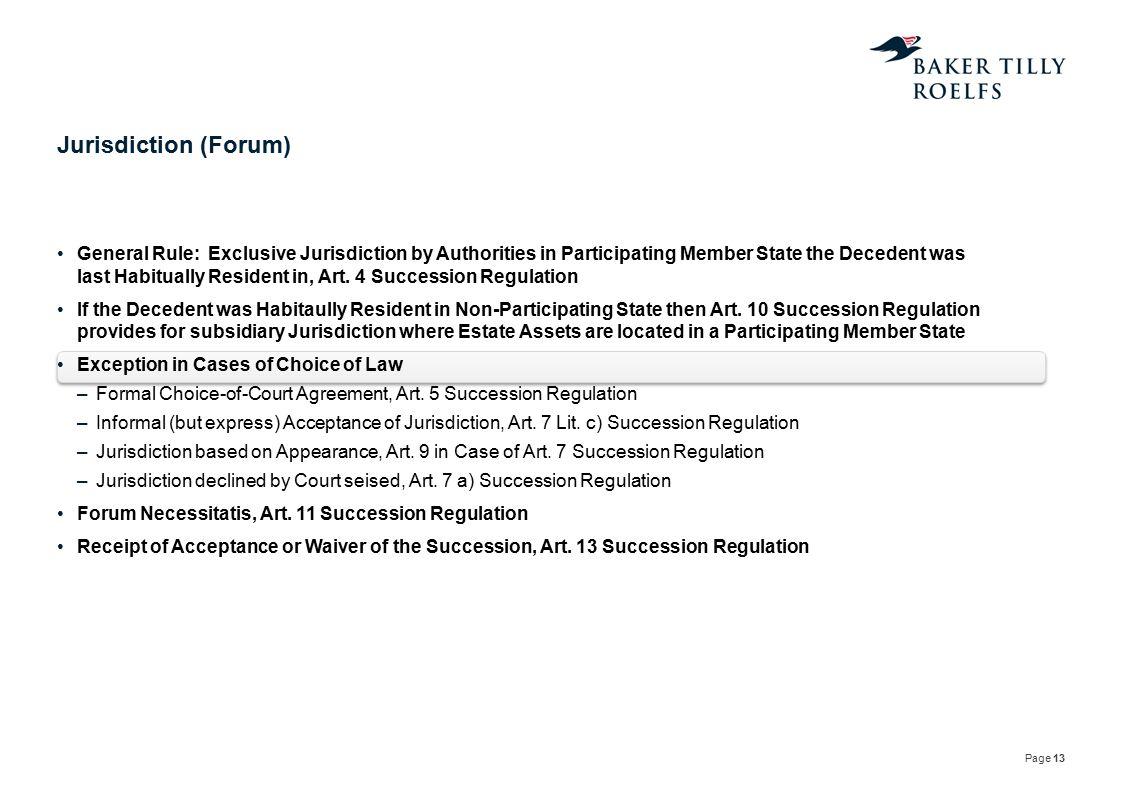 Jurisdiction (Forum)