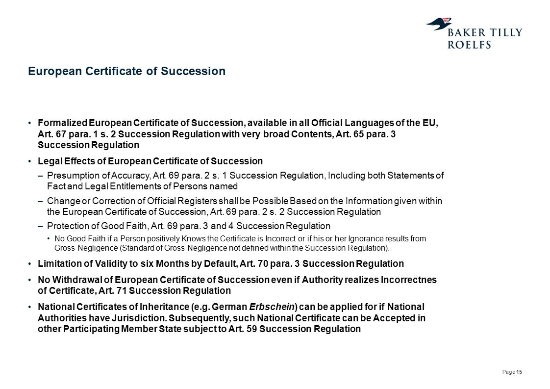 European Certificate of Succession