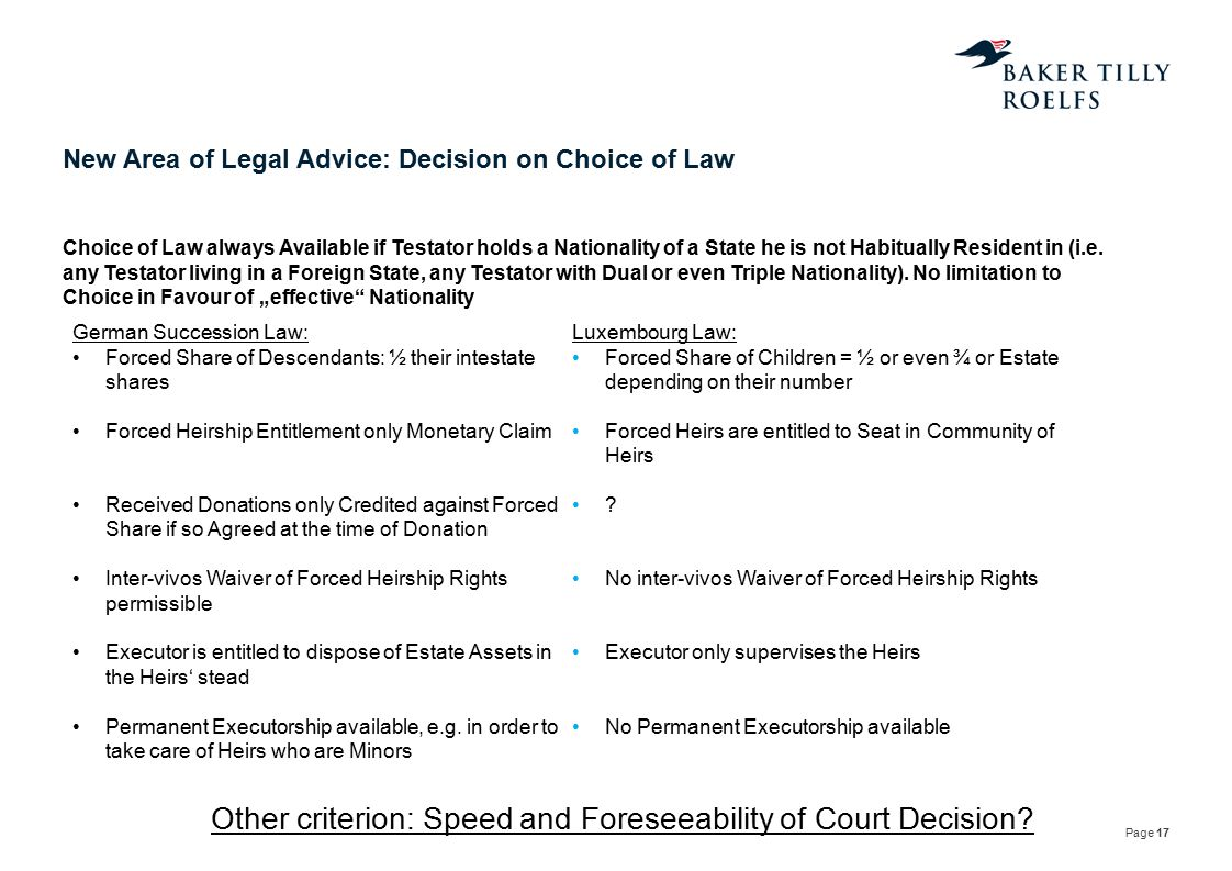 New Area of Legal Advice: Decision on Choice of Law