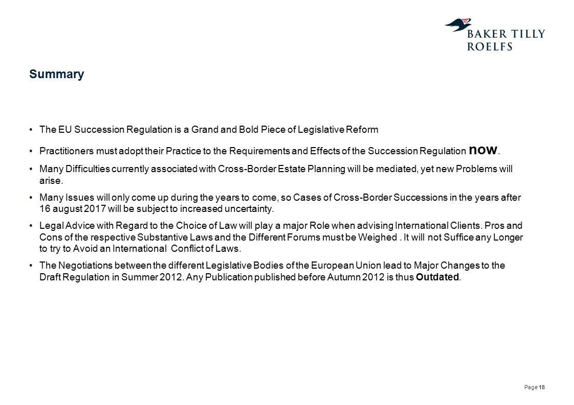 Summary The EU Succession Regulation is a Grand and Bold Piece of Legislative Reform.