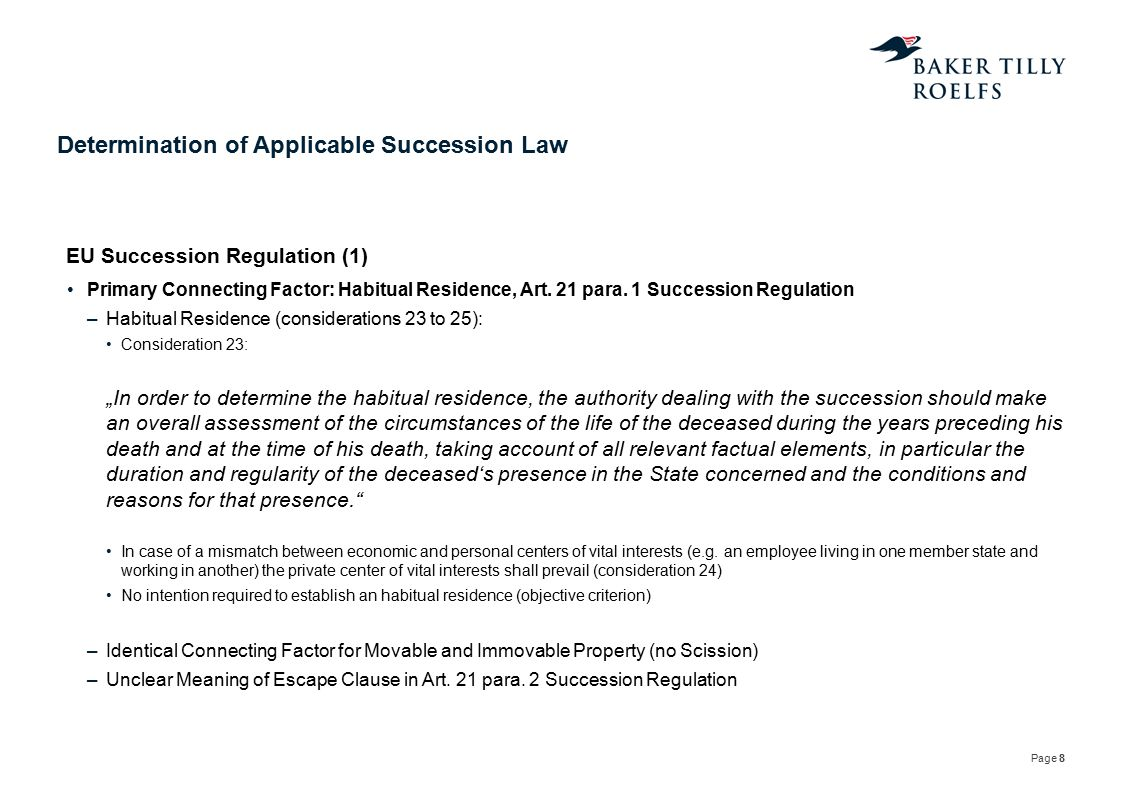 Determination of Applicable Succession Law